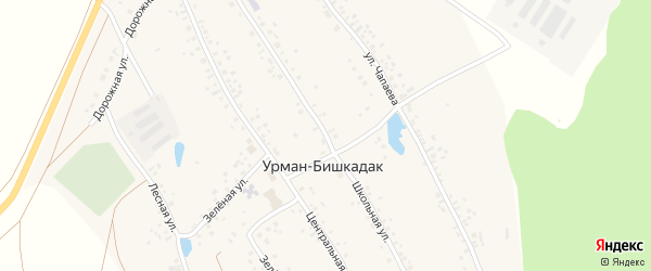 Школьная улица на карте села Урмана-Бишкадака с номерами домов
