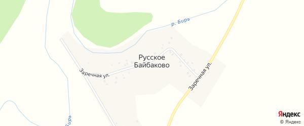 Заречная улица на карте деревни Русское Байбаково с номерами домов