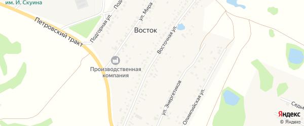 Восточная улица на карте деревни Востока с номерами домов