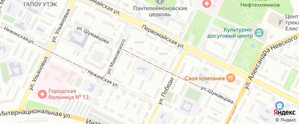 Улица Шумавцова на карте Уфы с номерами домов