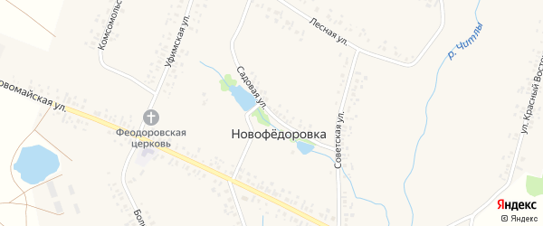 Садовая улица на карте деревни Новофедоровки с номерами домов