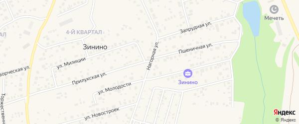 Нагорная улица на карте деревни Зинино с номерами домов