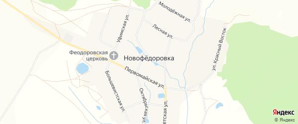 Карта деревни Новофедоровки в Башкортостане с улицами и номерами домов