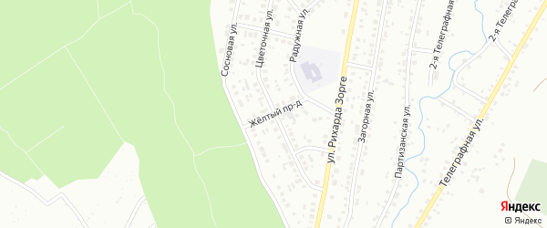 Желтый проезд на карте Ишимбая с номерами домов