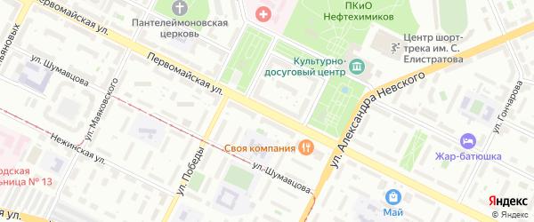 Первомайская улица на карте Уфы с номерами домов