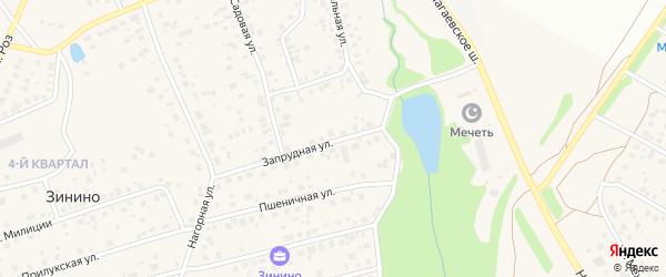 Запрудная улица на карте деревни Зинино с номерами домов
