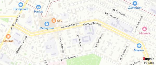 Улица Репина на карте Уфы с номерами домов