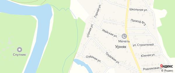 Горная улица на карте деревни Урняка с номерами домов