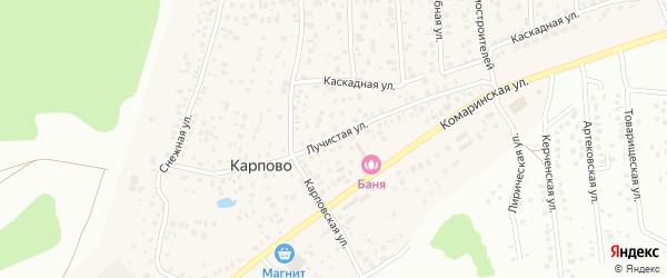 Лучистая улица на карте деревни Карпово с номерами домов