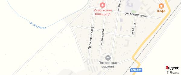 Первомайская улица на карте села Большого Куганака с номерами домов