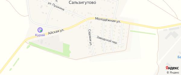 Садовая улица на карте деревни Сальзигутово с номерами домов