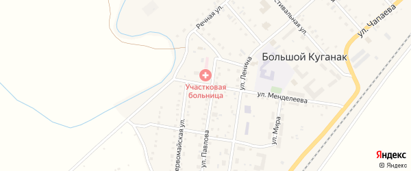 Школьная улица на карте села Большого Куганака с номерами домов