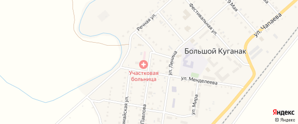 Улица Павлова на карте села Большого Куганака с номерами домов