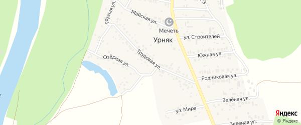 Трудовая улица на карте деревни Урняка с номерами домов