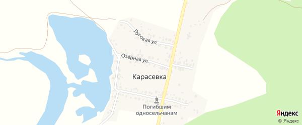 Озерная улица на карте деревни Карасевки с номерами домов