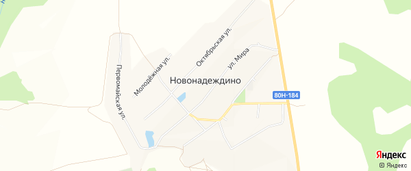 Карта села Новонадеждино в Башкортостане с улицами и номерами домов