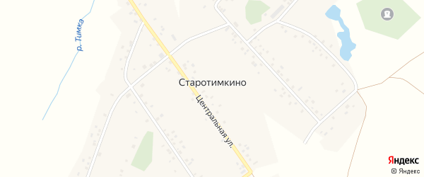 Школьная улица на карте деревни Старотимкино с номерами домов