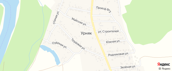 Улица Строителей на карте деревни Урняка с номерами домов
