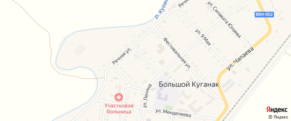 Комсомольская улица на карте села Большого Куганака с номерами домов