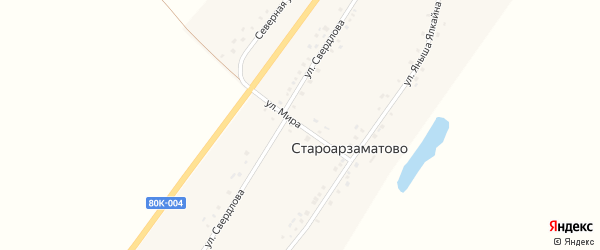 Улица Мира на карте деревни Староарзаматово с номерами домов