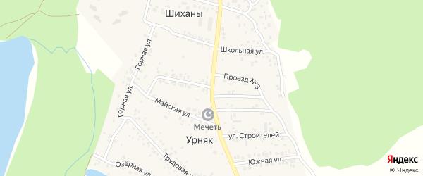 Строительная улица на карте деревни Урняка с номерами домов