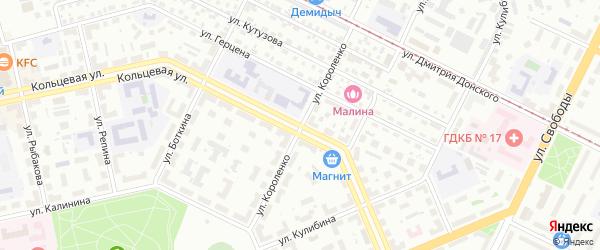 Улица Короленко на карте Уфы с номерами домов