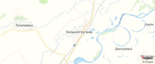 Карта Куганакского сельсовета республики Башкортостан с районами, улицами и номерами домов