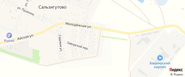 Заводская улица на карте деревни Сальзигутово с номерами домов