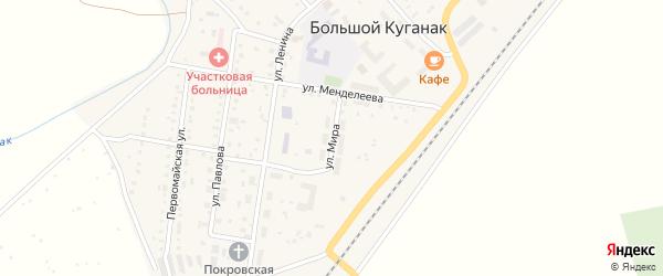 Улица Мира на карте села Большого Куганака с номерами домов