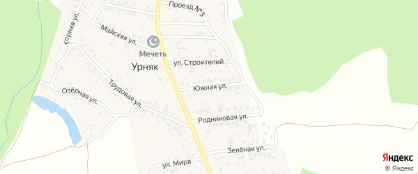 Южная улица на карте деревни Урняка с номерами домов