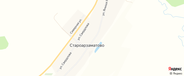 Карта деревни Староарзаматово в Башкортостане с улицами и номерами домов