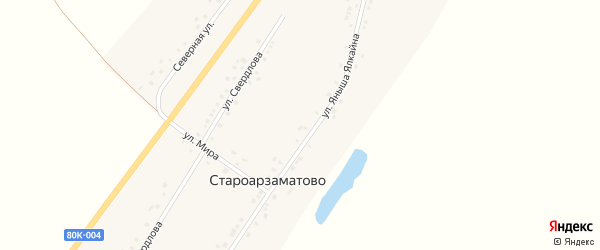 Улица Свердлова на карте деревни Староарзаматово с номерами домов