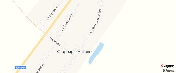 Улица Яныша Ялкайна на карте деревни Староарзаматово с номерами домов
