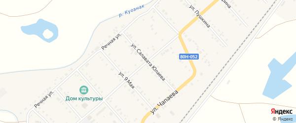 Улица Салавата Юлаева на карте села Большого Куганака с номерами домов
