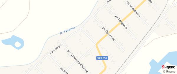 Коммунистическая улица на карте села Большого Куганака с номерами домов