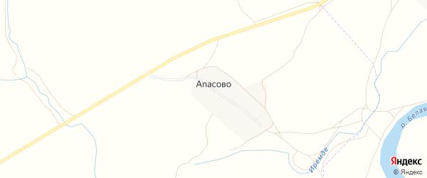 Карта деревни Апасово в Башкортостане с улицами и номерами домов