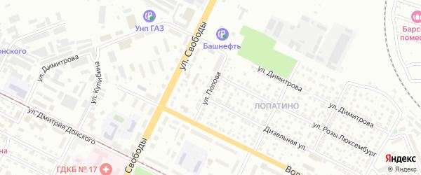 Улица Попова на карте Уфы с номерами домов