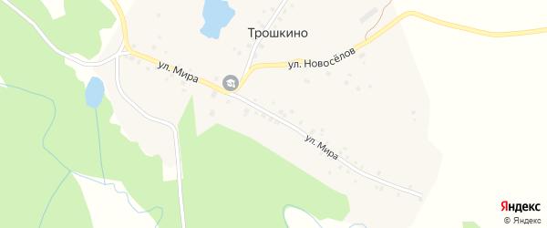 Улица Мира на карте деревни Трошкино с номерами домов
