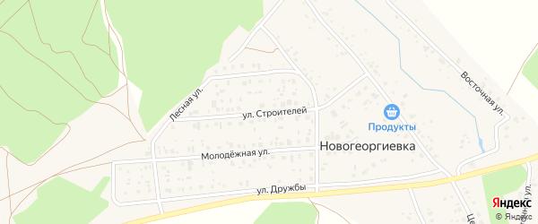 Улица Строителей на карте деревни Новогеоргиевки с номерами домов