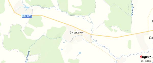 Карта Бишкаинского сельсовета республики Башкортостан с районами, улицами и номерами домов