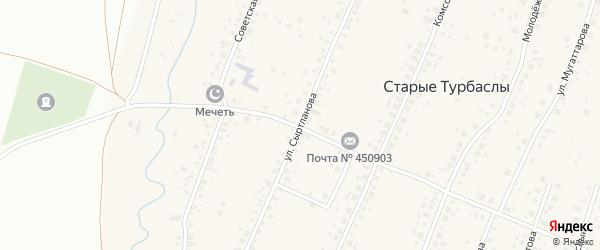 Улица Сыртланова на карте села Старые Турбаслы с номерами домов