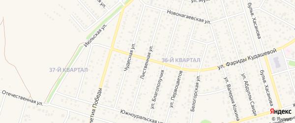 Лиственная улица на карте села Нагаево с номерами домов