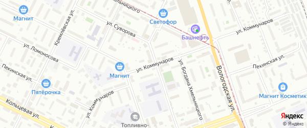 Улица Коммунаров на карте Уфы с номерами домов