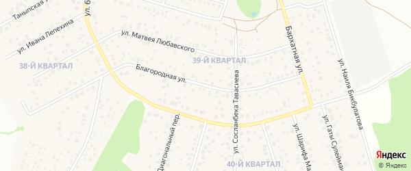 Благородная улица на карте села Нагаево с номерами домов