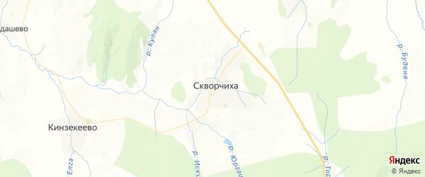 Карта Скворчихинского сельсовета республики Башкортостан с районами, улицами и номерами домов