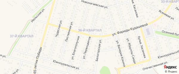 Улица Первоцветов на карте села Нагаево с номерами домов