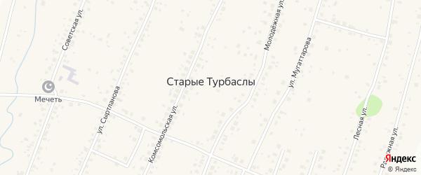 1-й микрорайон на карте села Старые Турбаслы с номерами домов