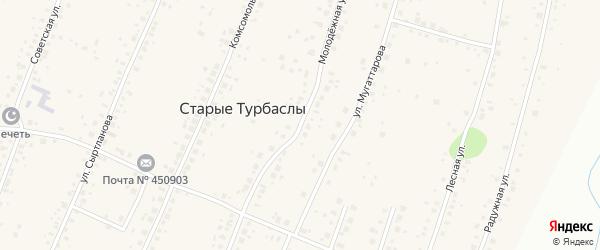 Молодежная улица на карте села Старые Турбаслы с номерами домов