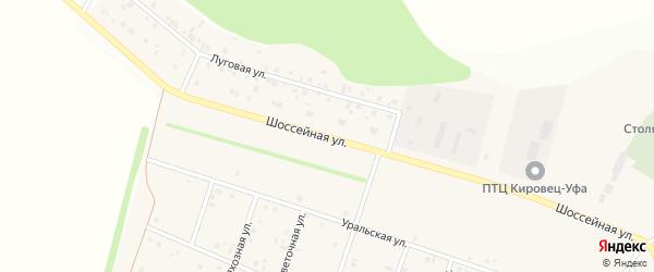 Шоссейная улица на карте деревни Кабаково с номерами домов