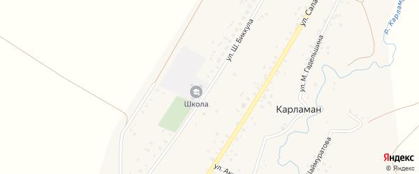 Улица Ш.Биккула на карте деревни Карламана с номерами домов